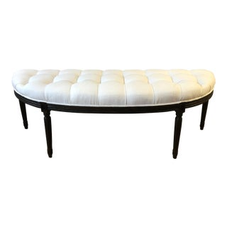 French Style Curved Dark Wood and Linen Tufted Bench For Sale