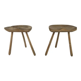 Danish Beechwood Early 20th Century Milking Stools - a Pair For Sale