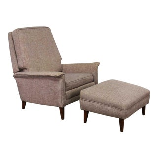 Mid Century Modern Reclining Lounge Chair and Ottoman Style of Wormley for Dunbar For Sale