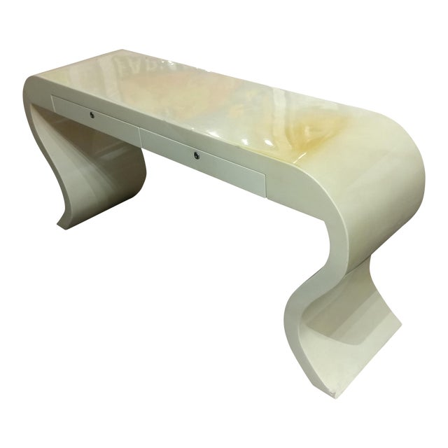 Lacquered Goat Skin Console Table For Sale