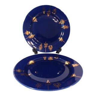 Christmas Cobalt Blue & Gold Dinner Plates - a Pair For Sale