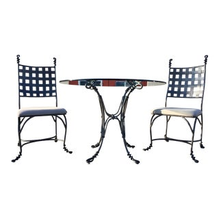 Wrought Iron Glass Dining Table and Chair Pair After Giacometti For Sale