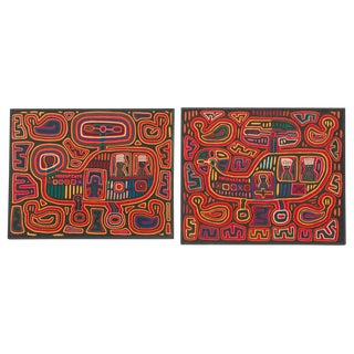 Mola Helicopter Textiles, Cuna Indians, San Blas Island, Panama - a Pair For Sale