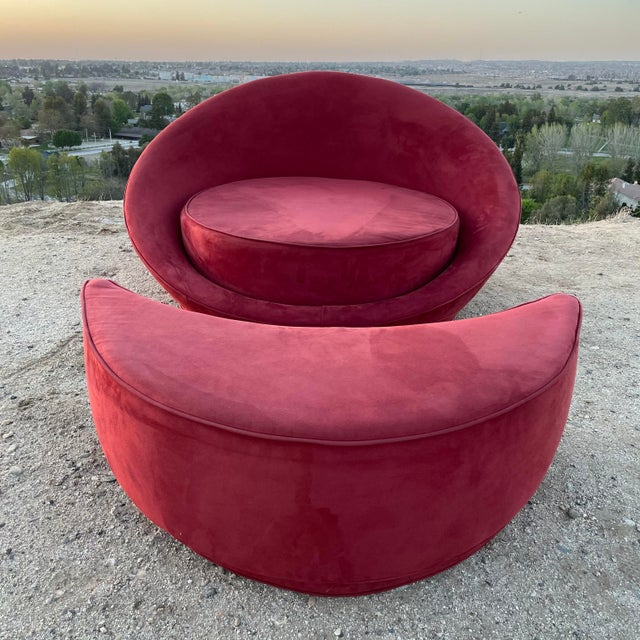 1960s Vintage Milo Baughman Attributed Satellite Chaise & Moon Shape Ottoman For Sale - Image 4 of 6