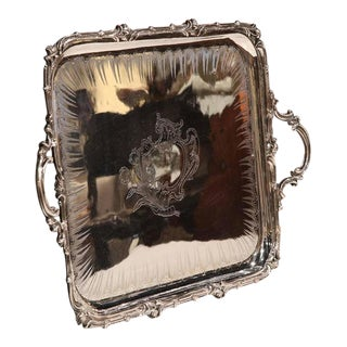 19th Century French Louis XV Silver Plated Christofle Tray With Engravings For Sale