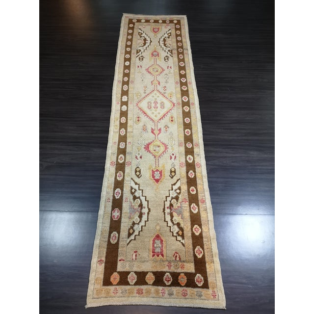 Turkish Contemporary Hand-Knotted Oushak Runner Rug For Sale - Image 9 of 10