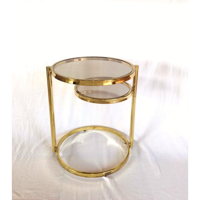 Hollywood Regency Hollywood Regency Brass and Smoked Glass Swivel Side Table by Dia, 1970's For Sale - Image 3 of 13