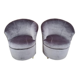 Mid Century Modern Sculptural Directional Barrel Chairs on Casters Newly Uphostered - Pair For Sale