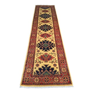 Hand Knotted Wool Geometric Kazak Runner- 2′10″ × 10′2″ For Sale
