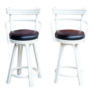 Kalp-Son Rattan Co. Mid-Century Modern White Bentwood and Leather Bar Stools - a Pair For Sale