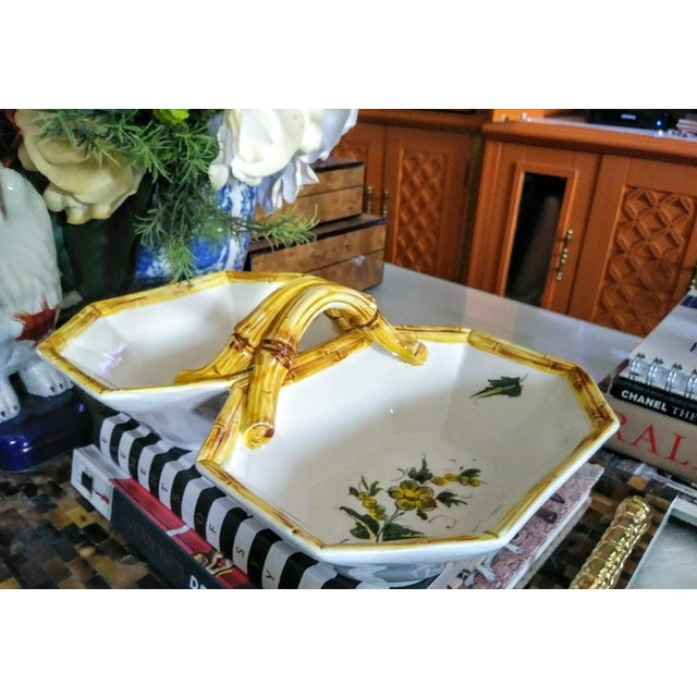 Italian Double Deep Ceramic Faux Bamboo Bowl Server For Sale - Image 4 of 5