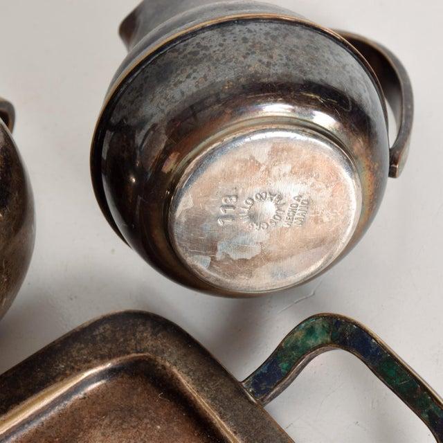 Los Castillo Coffee Tea Serving Set Silverplate & Malachite Azurite Stone Mexican Mid Century For Sale - Image 9 of 11