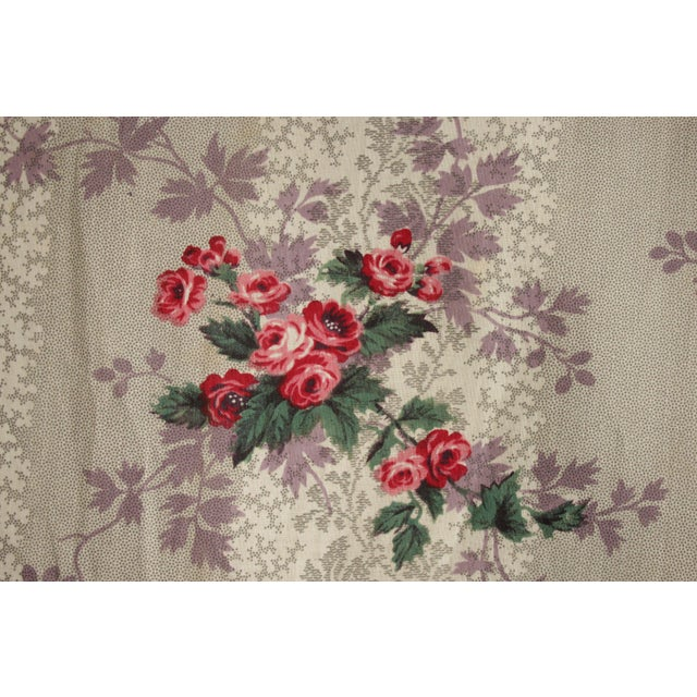 French Fabric Floral 1860 Purple And Pink Rose Design For Sale - Image 11 of 11
