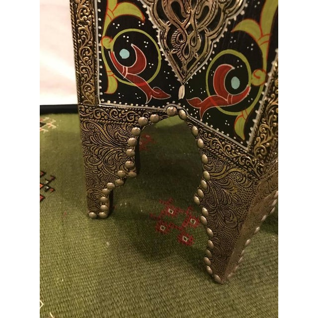 Brass Star-Shaped End Table or Footstool With Ebony Inlays For Sale - Image 7 of 9