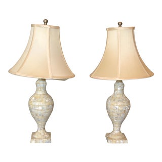 Vintage Capiz Shell Table Lamps With Shades - Pair For Sale