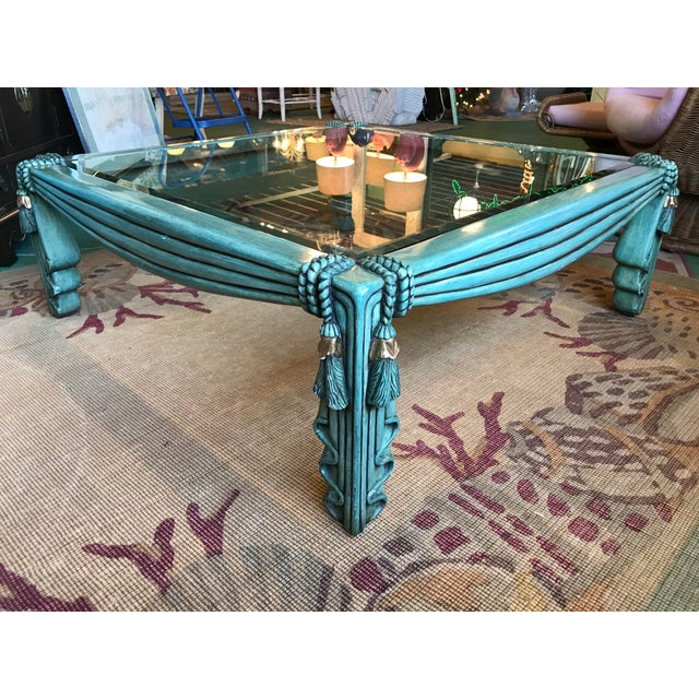 Emerald Vintage Regency Draped Tassel Coffee Table For Sale - Image 8 of 13