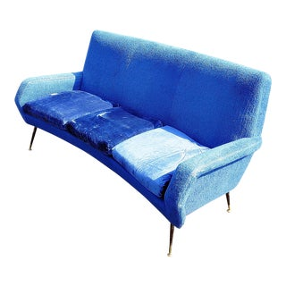 20th Century Italian Blue Upholstered Sofa For Sale