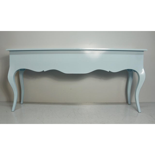 Mid 20th Century French Carved Blue & White Lacquered Console Table For Sale - Image 4 of 9