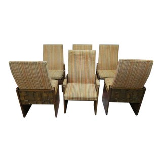 1950s Mid Century Modern Lane Brutalist Walnut Dining Chairs- Set of 6 For Sale