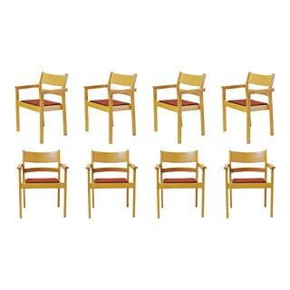 1980s Vintage Refinished Hans J. Wegner Armchairs- Set of 8 For Sale