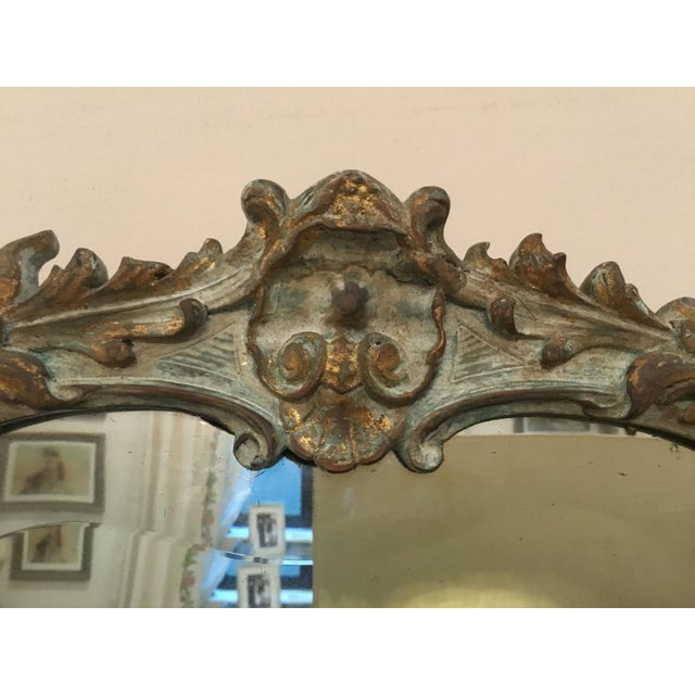 Gold Antique Wood Carved Triptych Mirror For Sale - Image 8 of 11