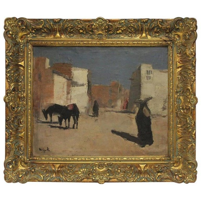 "20th Century ""A Street in Luxor"" Oil Painting by Huub Hierck, 1917-1978 For Sale In Chicago - Image 6 of 6"