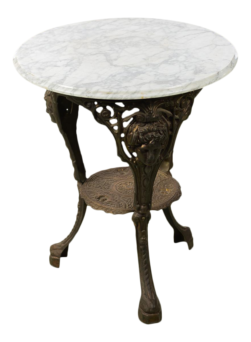 Antique English Cast Iron Pub Bistro Table W/Round Marble Top For Sale