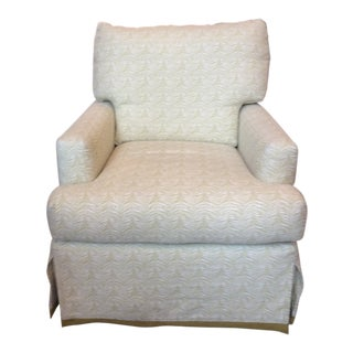 Lee Industries Upholstered Swivel Chair For Sale