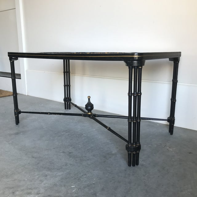 1930s Vintage English Regency Black Lacquered Coffee Table For Sale - Image 4 of 12