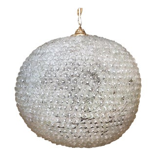 1980s Traditional Glass & Pearl Sphere Chandelier For Sale