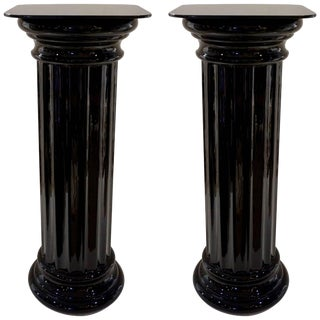 1960s Italian Art Deco Black Glass Round Columns - a Pair For Sale