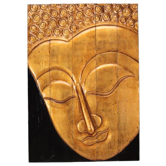 Sarreid LTD Gilt Buddha Head Paneled Plaque - Image 1 of 2
