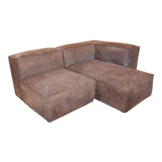 Modern Restoration Hardware Distressed Leather Sectional with Right Chaise + One Armchair For Sale