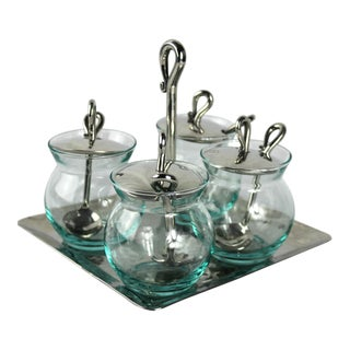 Stainless Steel and Glass Condiment Serving Set - 13 Pc. For Sale