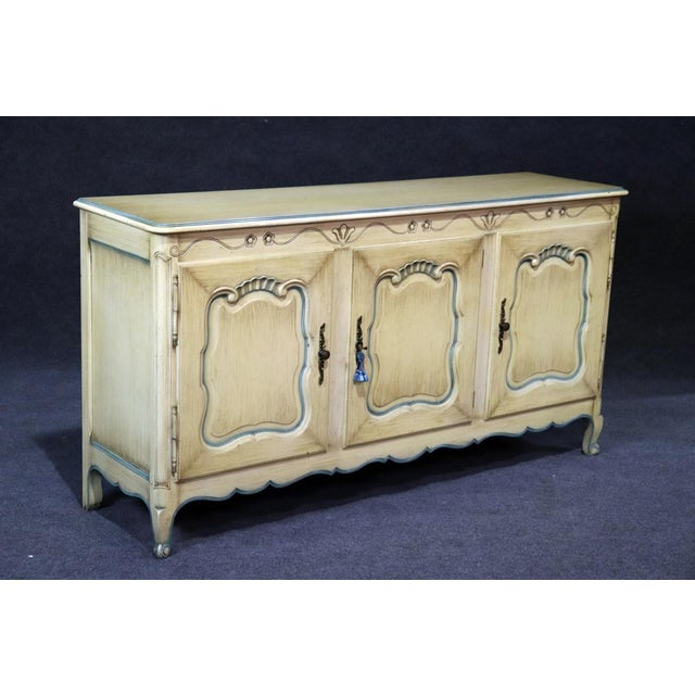 French Louis XV Style Paint Decorated Sideboard For Sale - Image 4 of 8