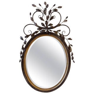 LaBarge Oval Adam Style Wood and Italian Metal Beveled Mirror For Sale