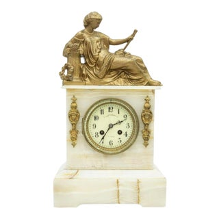 French Ormolu Onyx Gilt Spelter Figural Mantle Clock by Samuel Marti For Sale
