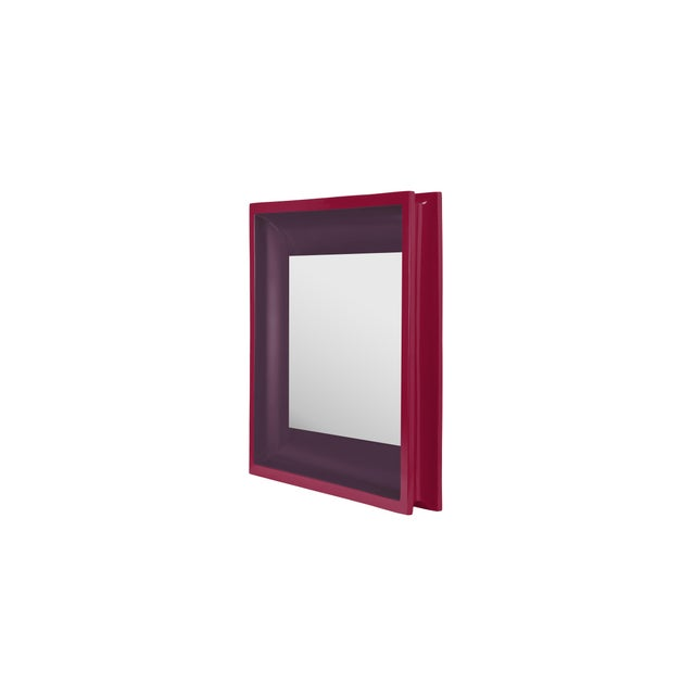 Contemporary Jeffrey Bilhuber Collection Square Floating Mirror in Eggplant / Chinaberry Crimson For Sale - Image 3 of 3