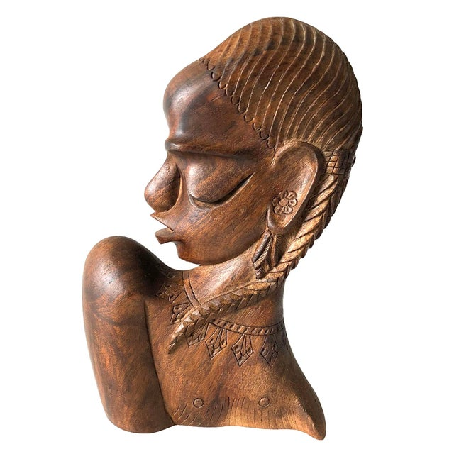 Carved Wooden African Female Bust For Sale - Image 5 of 5