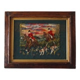 Image of Victorian Needlepoint Hunting Scene For Sale