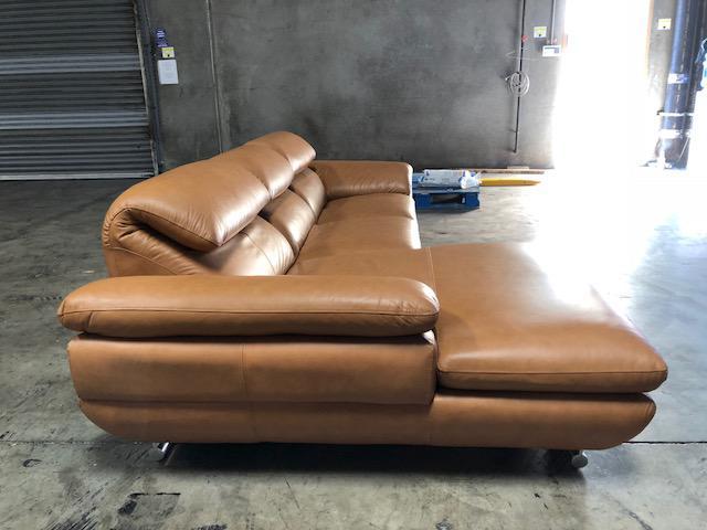 Calia Italia Tan Leather Sectional Sofa For Sale  Image 4 Of 8 Tan Leather Sectional N31