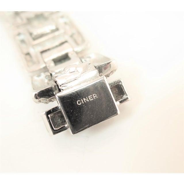 Ciner Art Deco-Style Geometric Link Rhodium Bracelet 1950s For Sale - Image 11 of 13