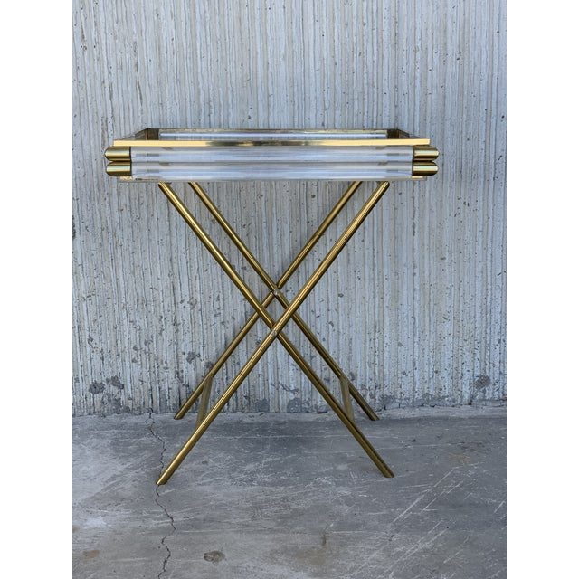 Mid-Century Modern Mid-Century Modern Italian Tray Table With Brass Legs by Montagnani For Sale - Image 3 of 7