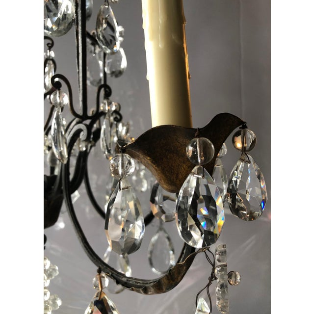 Metal Vintage French Black Iron and Crystal Chandelier For Sale - Image 7 of 13