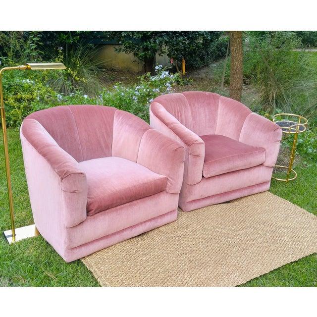 Pink Velvet Barrel Back Swivel Chairs - A Pair   Chairish