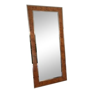"Williams Sonoma ""Fulton"" Burl Wood & Stainless Steel Floor Mirror For Sale"
