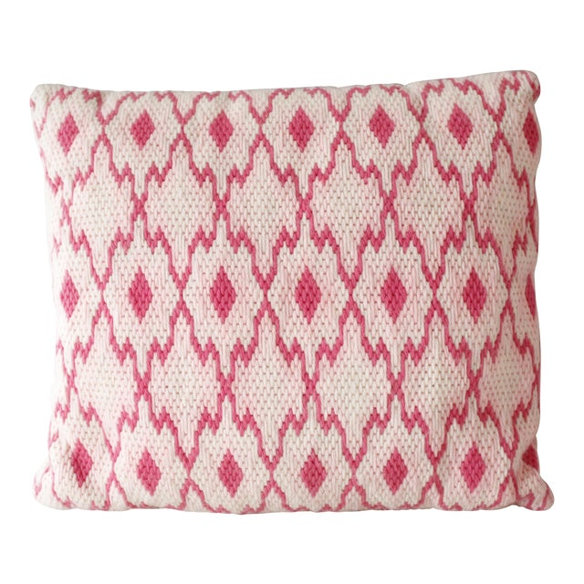 Vintage Pink Geometric Needlepoint Pillow Flame Stitch Mid Century For Sale