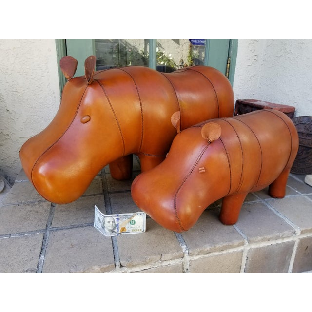 Small Leather Animal Hippo Footstool - Image 2 of 5