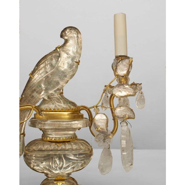 Art Deco A Lovely Pair of French Crystal Bird Candelabra For Sale - Image 3 of 4