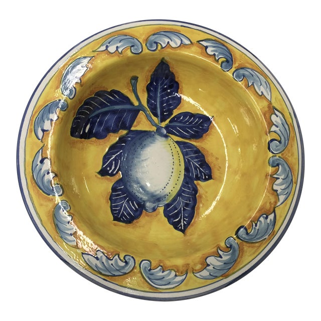Hand Painted Italian Bowl with Lemons For Sale